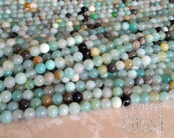 4mm Amazonite Gemstone Beads - 16 inch strand - approx 92 beads - Opaque Milky Blue Green Gray Tan Black - Central Coast Charms