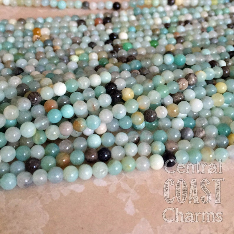 4mm Amazonite Gemstone Beads  16 inch strand  approx 92 image 0