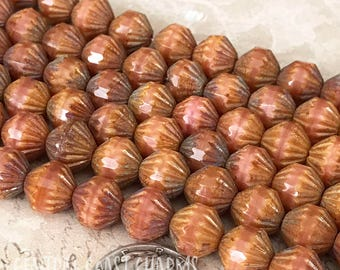 9mm Czech Glass Fluted Bicone Beads (25) Coral Pink Etched Travertine Picasso - African Tribal Bohemian Earthy Rustic - Central Coast Charms