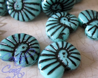 Desert Fossil - Czech Glass Picasso Nautilus Ammonite Shell Bead - 16mm x 14mm (6) Turquoise Blue Black - Beach Ocean - Central Coast Charms