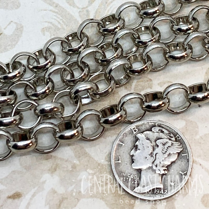 Large Rolo Chain Antique Silver  7mm  1 Foot  Unsoldered image 0