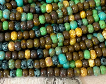 """Santa Barbara - Aged Striped 6/0 Czech Glass Rocaille Seed Beads - 20"""" strand - 4mm - Bohemian Mix Opaque Picasso - Central Coast Charms"""