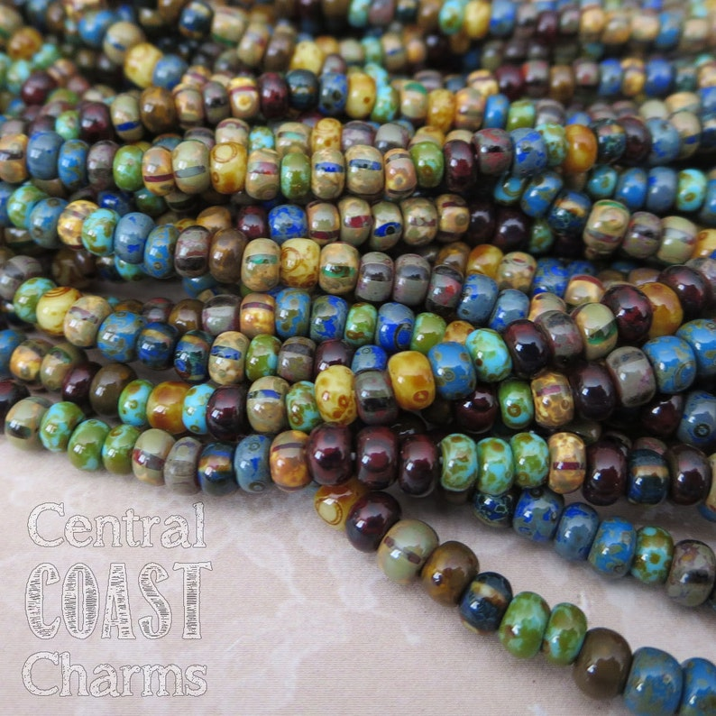 Caribbean Summer  Aged Striped 6/0 Czech Glass Rocaille Seed image 0