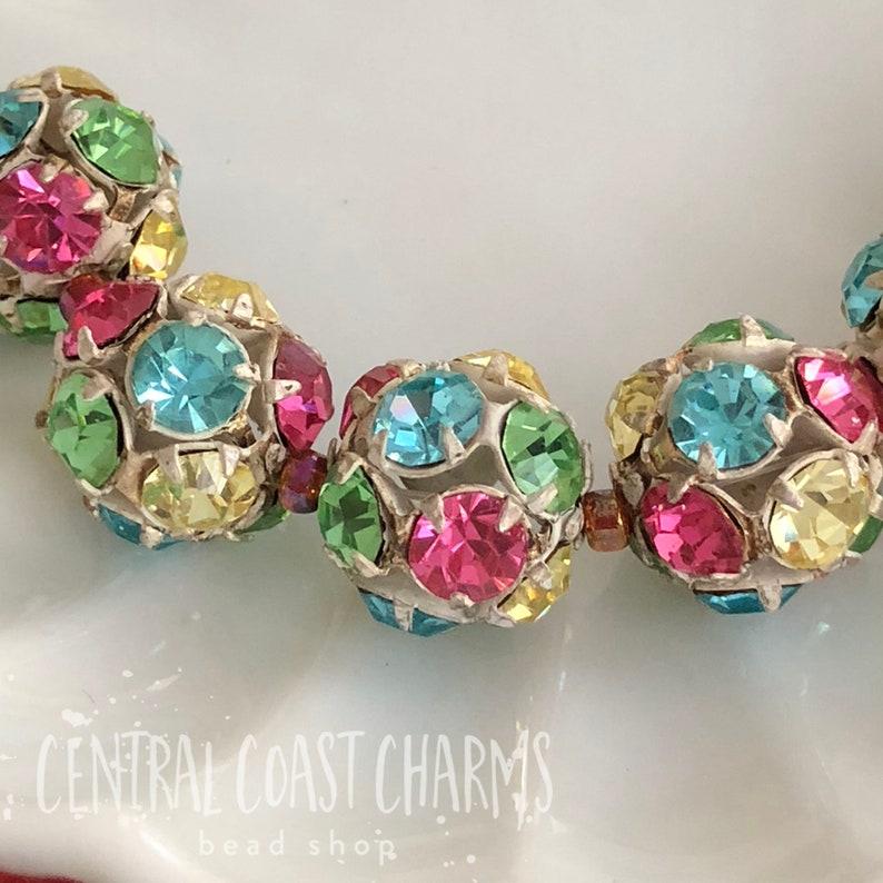RARE Vintage 14mm Swarovski Crystal Rhinestone Ball Bead Pink image 0