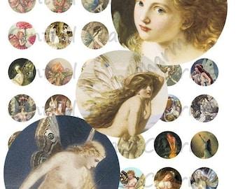 Vintage Fairies Altered Art Ephemera Collage Sheet 1 inch circles Digital Download