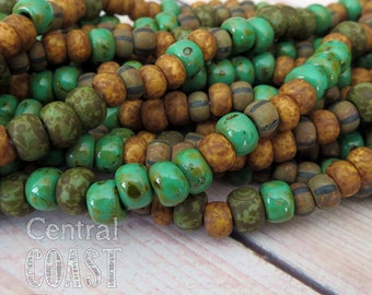 Jade Mix - Aged Striped 32/0 Czech Glass Rocaille Seed Beads - 25 pcs - 7.5mm Bohemian Opaque Matte Finish - Rustic - Central Coast Charms