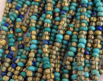 """Gypsy Treasure - Aged Striped 4/0 Czech Glass Rocaille Seed Beads - 20"""" strand - 5mm - Rustic Bohemian Opaque Picasso - Central Coast Charms"""