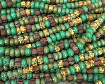 """Wanderlust - Aged Striped 6/0 Czech Glass Rocaille Seed Beads 20"""" strand 4mm Verde Green Bohemian Tribal Mix Picasso - Central Coast Charms"""