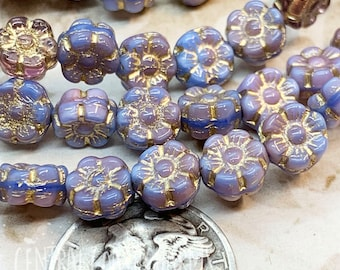 7mm Czech Glass Daisy Posey Puffy Flower Beads (40) Purple Lilac Lavender Mix Gold Picasso - Boho Hippie Gypsy Shabby - Central Coast Charms