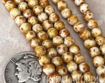 4mm Czech Glass Smooth Round Druk Beads - Opaque White Picasso (100) Bohemian Gypsy Hippie Rustic Earthy - Central Coast Charms