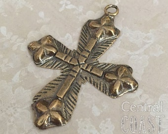 Solid Bronze Tribal Cross Artisan Charm Pendant - 53mm - Ancient Old World Religious Medal Catholic Spiritual Coptic - Central Coast Charms