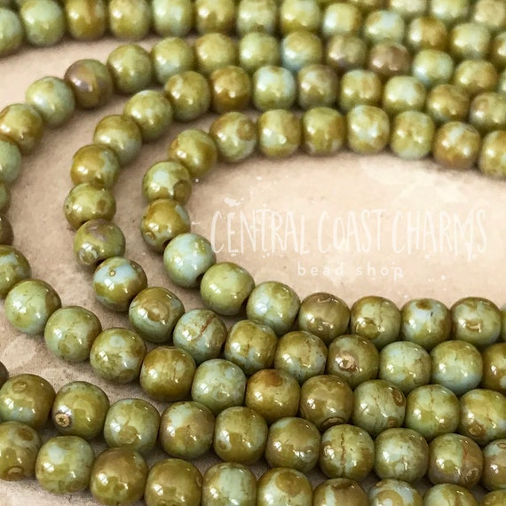 50 beads New AGED IVORY SPACERS 5 mm Jewelry Making Supplies Czech Pressed Glass Beads