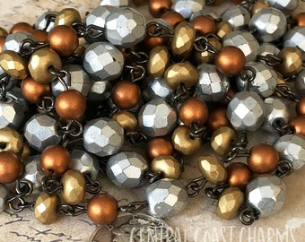 Czech Glass Beaded Chain - (1 Foot) Silver Copper Gold / Bronze Beads Mixed Metals - Urban Glam Style - Central Coast Charms