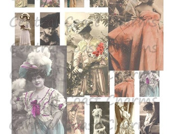 Vintage Ladies Women Images Altered Art Ephemera Collage Sheet 1 inch x 2 inch Domino Digital Download - Mixed Media - Central Coast Charms