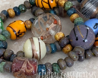 Bohemian Mix - Aged Striped 32/0 Czech Glass Rocaille Seed & Lampwork Beads  - You Choose - Tribal Ethnic Rustic - Central Coast Charms