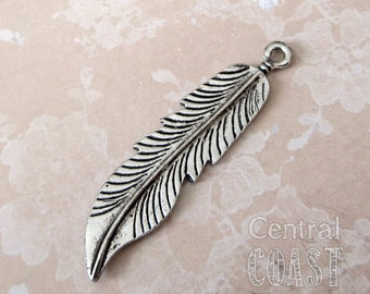 Bohemian Feather Charm Pendant - Antique Silver Pewter - 45mm x 10mm (1) Tribal Gypsy Boho Hippie Earthy Rustic - Central Coast Charms
