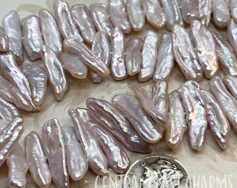 Freshwater Biwa Stick Pearl Beads - 24mm Light Pink Not Dyed Center Drilled - Baroque Cultured Natural Organic Oblong - Central Coast Charms