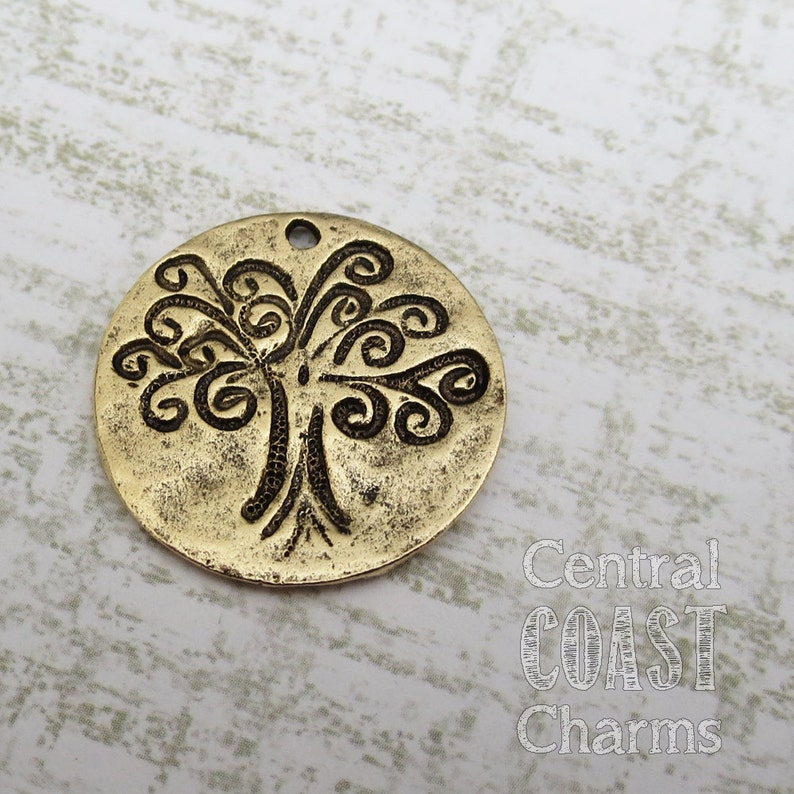 Tree of Life Disc Coin Charm Pendant  Antique Bronze Gold image 0