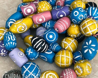 Large Clay Ceramic Terra Cotta Beads - You Choose - Multi Color Bead Mix Tribal Ethnic Gypsy Bohemian - Aromatherapy - Central Coast Charms