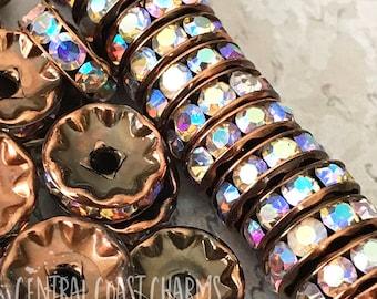 10mm Antique Copper Premium Czech Glass AB Rhinestone Rondelle Spacer Bead (8) Vintage Style Patina Aurora Borealis - Central Coast Charms