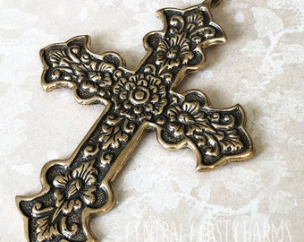 Large Ornate Old World Cross Pendant - Solid Bronze Casting - 49mm x 70mm - Boho ~Religious ~ Rosary ~ Catholic - Central Coast Charms