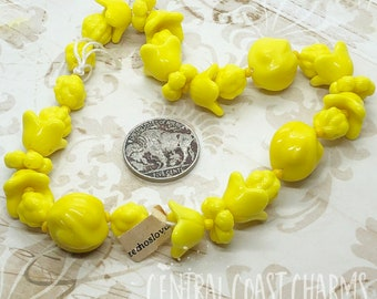 Vintage Czech Glass Bead Strand - Made In Czechoslovakia - Opaque Milky Chalk Yellow Flowers Pods Nuts - Central Coast Charms