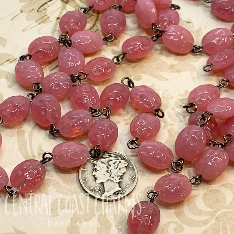 Rosary Chain Vintage Czech Pressed Glass Dimpled Oval 11mm x image 0