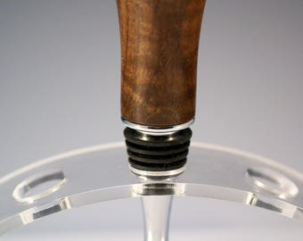 Wooden Bottle Stopper Hand Made from Figured Walnut and Stainless Steel P2571