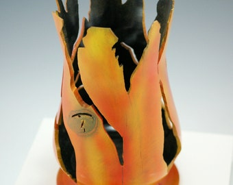 Cherry Art Vessel, Hand Made Center Piece, Carved and Airbrushed, A2788