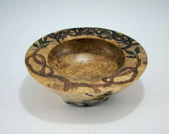 Maple Burl Bowl with Pyrography Vines on Rim, B2901