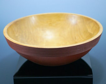 Wooden Bowl Hand Made with Maple, Milk Paint and Pyrography as a Center Piece for Your Home Decor, B2781