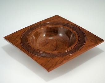 Bubinga Square Wooden Art Bowl Center Piece for your Home Decor, B2827