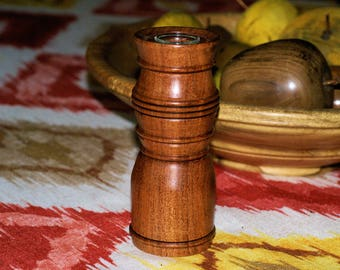 Wooden Bud Vase Hand Made from Mahogany with a Glass Insert, H2917