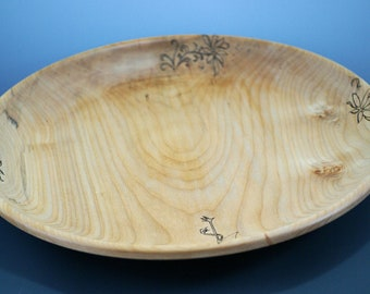 Large Maple Platter, with Pyrography and Dyed, Serving Platter, Home Decor, A3114