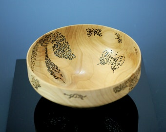 Cedar Center Piece Art Bowl with Pyrography and Piercing, A2784