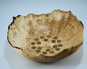 Wooden Bowl Hand Made from Maple Burl with Natural Edge and Oak Inlays, B2861