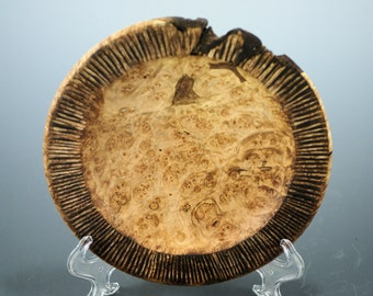 Maple Burl Plate, Display Art Platter, Hand Carved Art Display