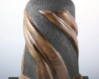 Walnut Wooden Vessel Hand Made with Lid for Home or Office Decor, V2731