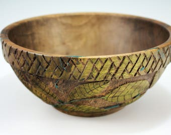 Wooden Art Bowl Created from Oregon Walnut Turned and Carved by Gary L McGuire, B2896