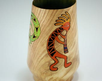 Wooden Art Vessel Hand Made from Oregon Locust, Wood Vessel with Pyrography, Piercing and Metallic Paint, V2894
