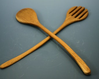 Salad Bowl Utensils Mahogany Fork and Spoon K3152