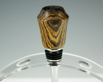 Bottle Stopper Hand Made from Bocote Wood and Stainless Steel, P2752