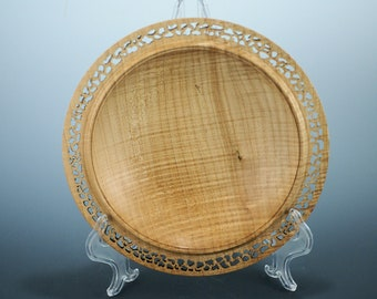 Figured Maple Decor Dish, Hand Pierced, Display Platter, Kitchen Art, A3113