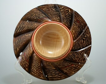 Wood Display Bowl, Wooden Art Bowl, Wooden Centerpiece,