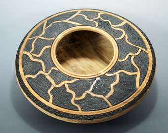Maple Art Vessel with Pyrography and Aniline Dye V3096