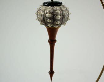 Christmas Ornament Hand Made from a Sea Urchin, African Blackwood and Opepe, C2930