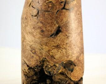 Wooden Vase from Elm Wood Burl, Wood Vessel Art Piece