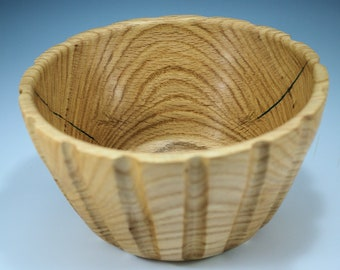 Wooden Oak Salad Bowl, Fluted Oak Bowl