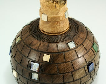 Urn from Black Walnut and Maple Burl, V3037