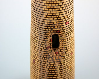 Wooden Sculpture, Carved Wood, Pyrography Art, Wood Vase